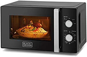 Black+Decker 20L Microwave Oven with Defrost Function , Black - MZ2010P-B5, 2 Years Warranty