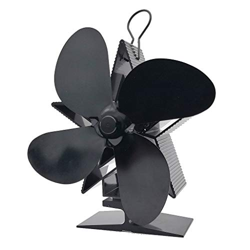 4 Blade Herd Fan - Wärmebetriebener Lüfter für Holz/Holzbrenner oder Kamin - Ruhiger Design-Zirkuliert Warme/beheizte Luft - umweltfreundlich und wirtschaftlich,Black