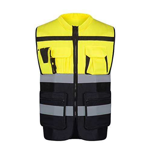 DBL Warnweste Leichte und atmungsaktive Arbeitskleidung Sicherheit bei Nacht Reflektierende Warnweste Sicherheitswesten (Color : Fluorescent yellow, Size : L)