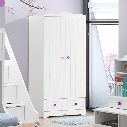 Best Price Fat Ant Wardrobe Armoire for Bedroom, Wood, White