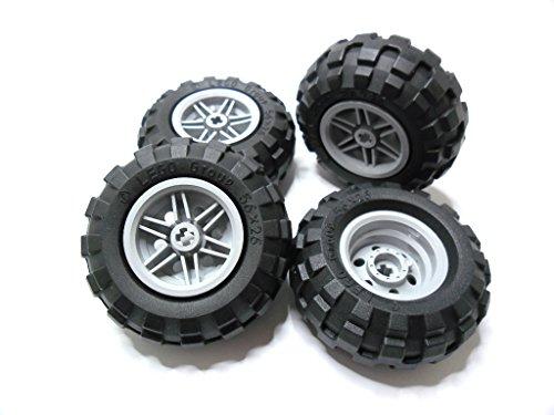 LEGO TECHNIC - 4 Räder mit 56x26 Ballonreifen mit Felge in grau für Technik - Sets - 56145 / 55976