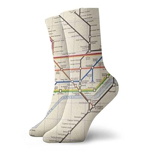 AOOEDM London'S Underground Map Compression Athletic SocksKurze Novelty Warmer Laufsocken für Damen und Herren 11,8 Zoll (30cm)