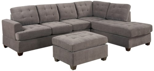 Hot Sale Bobkona Austin 3-Piece Reversible Sectional with Ottoman Sofa Set, Charcoal