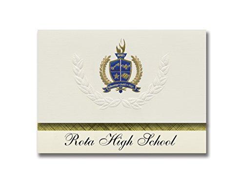 Signature Announcements Rota High School (Fpo, AE) Graduation Ankündigung, Presidential Style, Elite Paket mit 25 Stück mit Gold & Blau Metallic Folien-Siegel