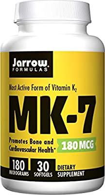 Jarrow Formulas MK-7 Bone and Cardiovascular Health, 180 mcg 30 Softgels