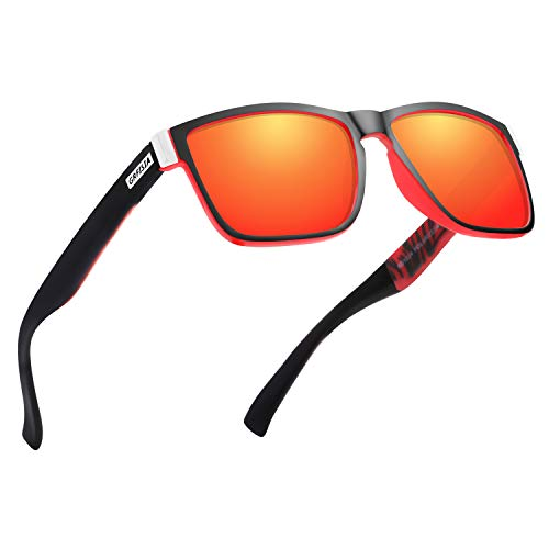 GRFISIA Vintage Polarized Sunglasses for Men and Women Driving Sun glasses 100% UV Protection (black red frame- red mirror)