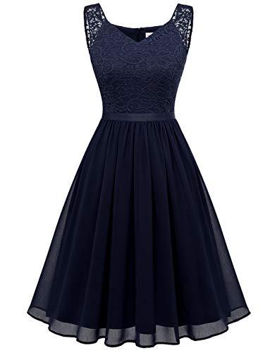 BeryLove Spitzenkleid Damen Elegant Cocktailkleid Chiffon Abendkleid Brautjungfernkleid Knielang für Hochzeit Marineblau BLP7023 Navy XS