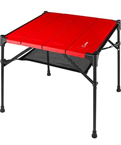 ATEPA 折りたたみテーブル キャンプ テーブル ミニテーブル アルミ コンパクト テーブル アウトドアテーブル ランタンハンガー 軽量 ローテーブル 専用収納袋付き キャンプ BBQ 登山 レジャーに最適