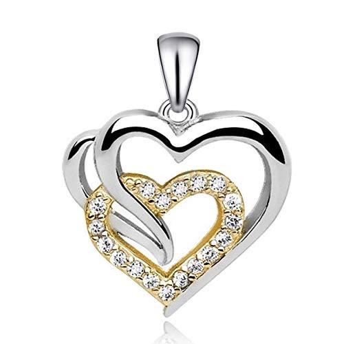 Goldene Hufeisen Für Dich Micro-Pavé Zirkonia Herz Anhänger Bicolor 925 Echt Silber (Silber-Gold)