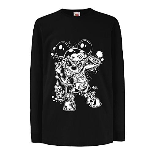 lepni.me Camiseta para Niño/Niña Un ratón con un increíble Disfraz de Fiesta de Halloween. (7-8 Years Negro Multicolor)