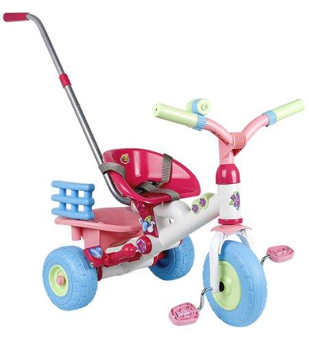 Coloma 838-37 - Driewieler Baby Princess met schuifstang, vrijloop, wit, blauw, roze