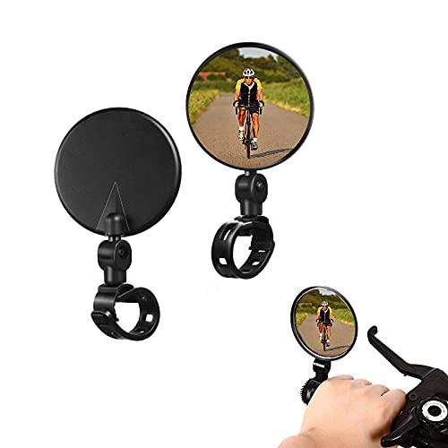 Espejo retrovisor de bicicleta, 2 piezas de espejo convexo de manillar de rotación ajustable de 360 grados, espejo lateral de bicicleta para todo uso