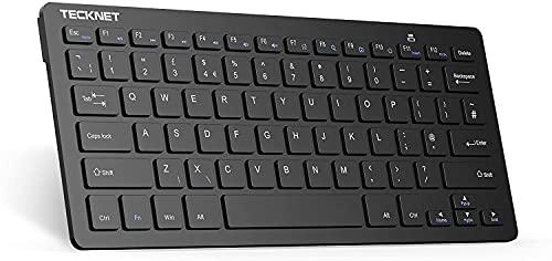 TECKNET Slim Kabellose Tastatur, Deutsches Layout QWERTZ, 2.4 GHz, 78 Tasten Mini Wireless Tastatur mit Nano USB Empfänger für Windows 10/8/7/Vista/XP and Android Smart TV
