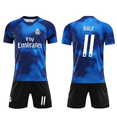 QW Fly Emirates Bale No.11 Football Jerseys Jersey and Shorts Suit Soccer Jersey Kids Men Team Uniforms,Blue,26
