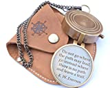 RIRHTAJUS Ralph Waldo Emerson Do not go Where The Path May Lead Compass with Hand Made Leather Case