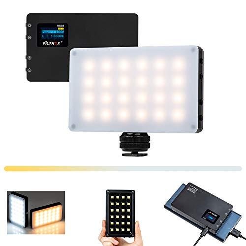 Mini LED Videoleuchte mit eingebautem Akku,Dimmbare Videolicht 2500K-8500K, Kamera Licht Dauerlicht CRI95+,Klein Tragbar Fotolampe für DSLR Camcorder Smartphone Selfie YouTube