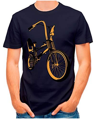 OM3® - Bonanza-II - T-Shirt | Herren | Vintage Kult Fahrrad 50 Jahre Jubiläum Bicycle | Navy, XXL
