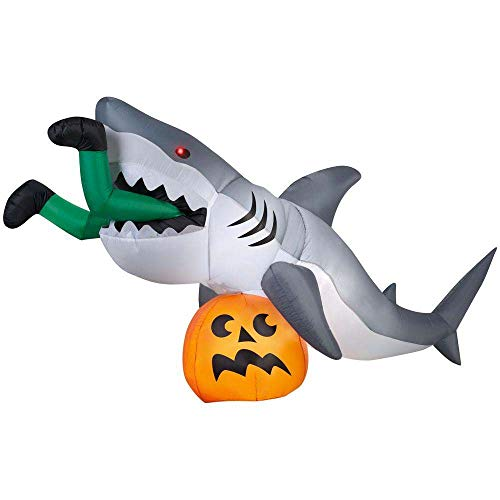 """9 Foot """"Caught By a Shark"""" Animated Halloween Inflatable"""