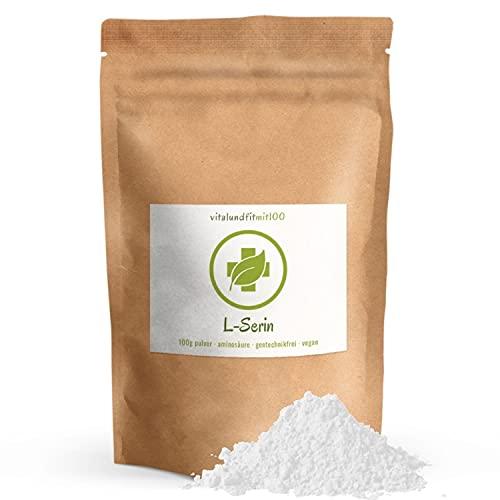 L-Serin Pulver 100 g - nicht-essentielle proteinogene Aminosäure - Reinsubstanz aus Fermentation - gentechnikfrei - vegan - glutenfrei/laktosefrei - ohne Hilfs- und Zusatzstoffe - MADE IN GERMANY