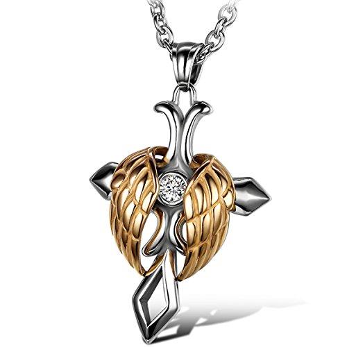 oidea Uomo Donna Ciondolo con catenina, Acciaio Inossidabile Ali d' angelo Croce ciondolo con 55cm catena collare, Oro Argento