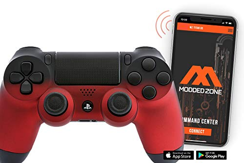 PS4 PRO Soft Touch Rapid Fire Custom MODDED Controller Exclusive Unique Designs - CUH-ZCT2U… (Multiple Designs Available) (Shadow Red/Black)