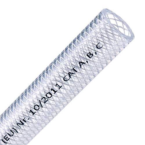 FLEXTUBE TX Ø 13mm x 3mm (1/2 Zoll), Meterware PVC Schlauch mit Gewebe, Lebensmittelecht durchsichtig flexibel Druckschlauch Druckluftschlauch Lebensmittelschlauch Wasserschlauch Luftschlauch