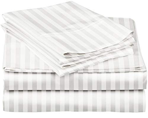 Juego de sábanas de 600 hilos a rayas para cama – 100% algodón egipcio de fibras largas, tejido de 600 hilos, diseño de rayas, color blanco, calidad de hotel, certificado OekoTex