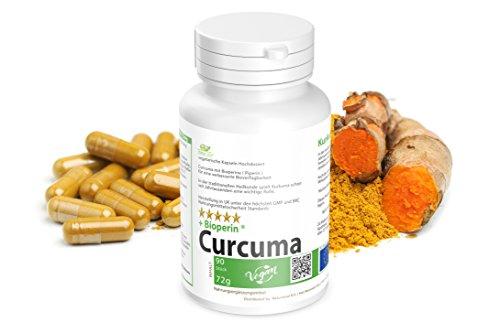 Abnehmen mit Kurkuma Piperin Diät: 90 vegetarische Kapseln mit BioPerine Hochdosiert - Curcuma plus Bioperine verbesserte Bioverfügbarkeit .- Vegan - Garantiert Glutenfrei