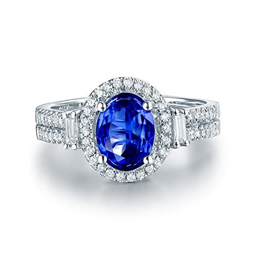 AnazoZ Anillo Tanzanita Mujer,Anillo Solitario Mujer Oro Blanco 18K Plata Azul Oval Tanzanita Azul 3ct Diamante 0.32ct Talla 15