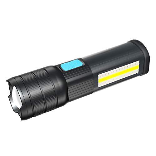 SecurityIng T6 Lampe torche LED rechargeable d'urgence COB Lumière 2400 mAh Sortie USB Banque de puissance Rouge Bleu Blanc Zoom LED Réglable Mise au point Résistant à l'eau avec base magnétique Noir