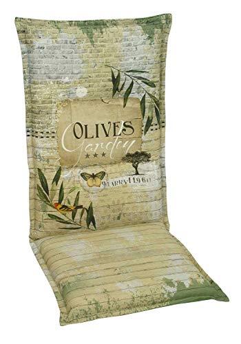 Möbel Jack Hochlehner Sesselauflage Sitzpolster Gartenstuhlauflage Stuhlauflage Polsterauflage | 120 x 50 x 8 cm | Grün | Olivenblättermotiv | Baumwolle