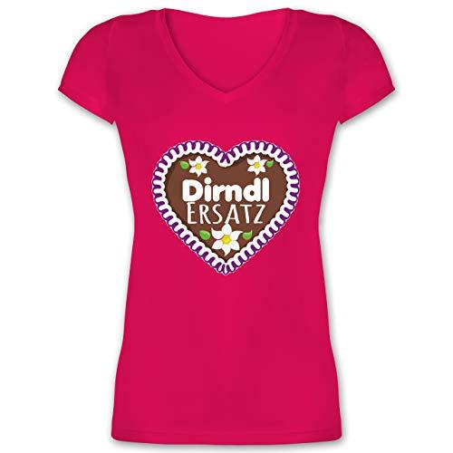 Oktoberfest Trachtenshirt Damen Party Trachten - Dirndl Ersatz Lebkuchenherz mit Blumen - lila - L - Fuchsia - Kurzarm - XO1525 - Damen T-Shirt mit V-Ausschnitt