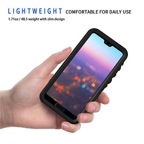 Lanhiem für Huawei P20 Pro Hülle, IP68 Zetrifiziert Wasserdicht Handy Hülle 360 Grad Schutzhülle, Stoßfest Staubdicht und Schneefest Outdoor Schutz mit Eingebautem Displayschutz - Schwarz - 2