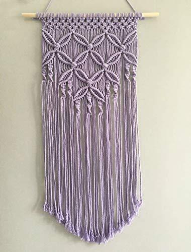 Winterdemoon Handmade Cotton Home Decor Macrame Wall Hanging Purple
