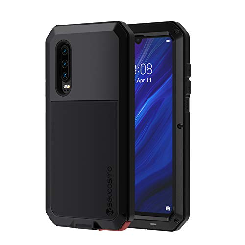 seacosmo Huawei P30 Hülle, 360 Grad Stoßfest Aluminium P30 Hülle Ganzkörper Schutzhülle mit eingebauter Bildschirmschutz für Huawei P30, Schwarz