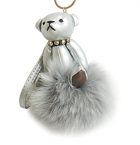 Sleutelhanger, knuffelig kunstvos bont lederen sleutelhanger tas handtas ketting pluche hanger