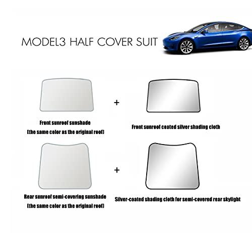 PACEWALKER Para Tesla Model 3 accesorios (2020, 2021) techo corredero, parasol, pantalla, cortina, protector de cristal, juego de 4 piezas (no requiere pegamento para montaje fijo).