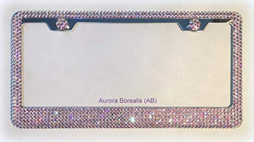 Bling License Plate Frame made with Aurora Borealis (AB) Swarovski Crystals - Car Jewelry -  RVMdesigns