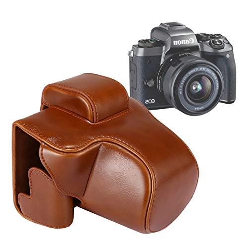 HONGYUE Bolso de la Caja del Cuero de la PU de la cámara del Cuerpo Completo de con la Correa for Canon EOS M5 (Negro) (Color : Brown)