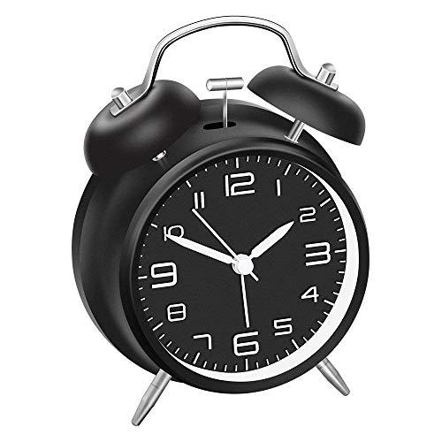 Reloj Despertador de Doble Campana,Reloj Despertador Analógico Retro de Cuarzo, Reloj Silencioso Sin Garrapata, Esfera Negra de 4 Pulgadas (No Contiene Bateria)
