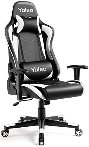 Gaming Chair - Yoleo Ergonomic Office Gaming Chair with Lumbar Support, High Back Computer Gamer Chair Backrest and Height Adjustable, ExecutiveReclinerSwivel Desk Chair Flip Up Arms - Black/White