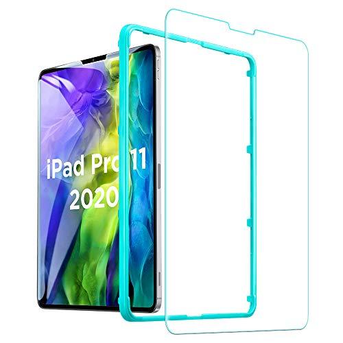 ESR Displayschutzfolie für iPad Pro 11 Zoll (2020/2018), [kostenloser Einbaurahmen] [kratzfest] [9H Härte] HD klar Premium gehärtetes Glas Displayschutzfolie, 1 Packung