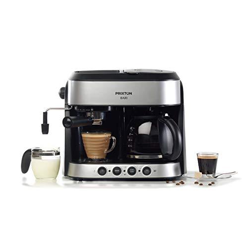 PRIXTON Bari - Cafetera Doble/Cafeteras Express 3 en 1: Espresso, Americano y Cappuccino, 15 Bares de Presión, Potencia 1850 W, Doble Sistema Italiano y Americano de Goteo, Vaporizador Integrado