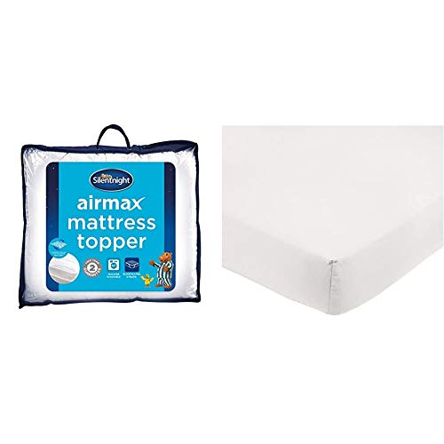 Silentnight Airmax Mattresss Topper, Polyester, White, King, 152 X 200 cm & AmazonBasics Microfibre Fitted Sheet, Double, Cream