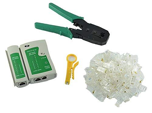 Bujingyun Comprobador de Cable + alicates de crimpado + 50 Rj45 Cat5 Cat5e Conector Plug Network Tool Set