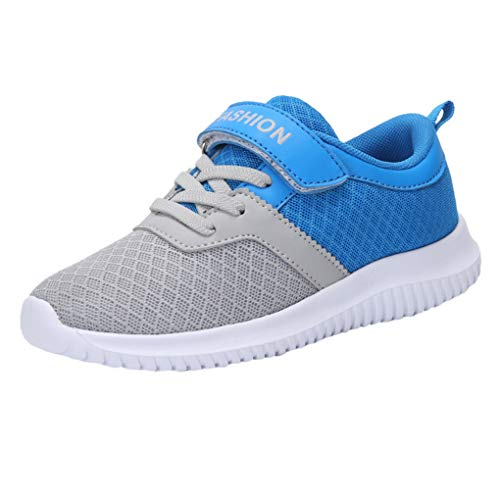Dorical Kinder Mädchen Sportschuhe Schuhe Mesh Atmungsaktiv Laufschuhe Outdoor Sport Sneaker Turnschuhe Klettverschluss Wanderschuhe Bequem Hallenschuhe für Jungen 28-39(Blau,36 EU)