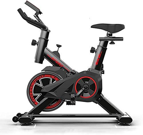 Bicicletta da Spinning Cyclette Allenamento Indoor Bicicletta, Fitness Bike E Trainer Ab Attrezzatura Sportiva Ideale Cardio Trainer Silent Belt Drive Cycle Bike con Regolabile,Nero