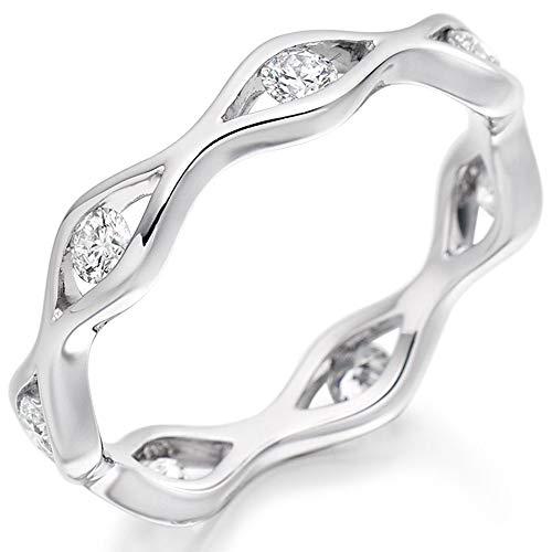 Platinum Shaped Tension-Set Diamond Eternity Ring (M) FET2422