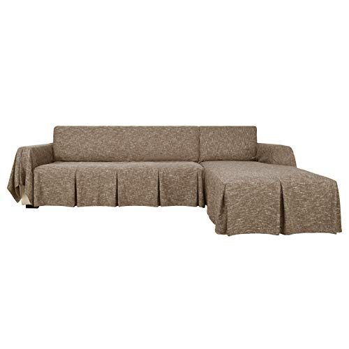 MAXIJIN Funda de sofá seccional en forma de L, 2 piezas, 100% poliéster, funda protectora para sofá con volantes, funda protectora para perro para sala de estar (3 asientos y chaises izquierda, café)