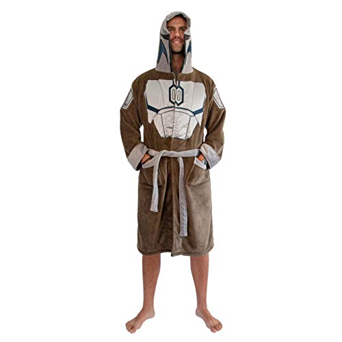 Star Wars: The Mandalorian Bounty Hunter Hooded Bathrobe for Men And Women   Soft Plush Spa Robe for Shower   Lightweight Fleece Housecoat With Belted Tie   One Size Fits Most Adults
